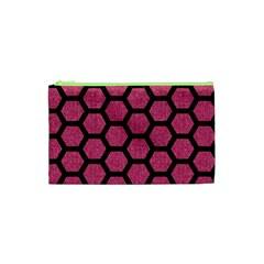 Hexagon2 Black Marble & Pink Denim Cosmetic Bag (xs) by trendistuff