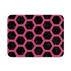 Hexagon2 Black Marble & Pink Denim (r) Double Sided Flano Blanket (mini)  by trendistuff