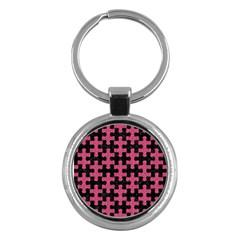 Puzzle1 Black Marble & Pink Denim Key Chains (round)  by trendistuff