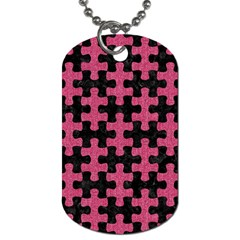 Puzzle1 Black Marble & Pink Denim Dog Tag (one Side) by trendistuff