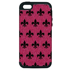 Royal1 Black Marble & Pink Denim (r) Apple Iphone 5 Hardshell Case (pc+silicone) by trendistuff