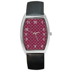 Scales2 Black Marble & Pink Denim Barrel Style Metal Watch by trendistuff
