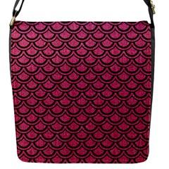 Scales2 Black Marble & Pink Denim Flap Messenger Bag (s) by trendistuff