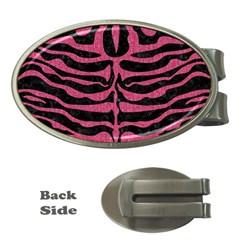 Skin2 Black Marble & Pink Denim (r) Money Clips (oval)  by trendistuff