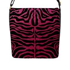 Skin2 Black Marble & Pink Denim (r) Flap Messenger Bag (l)  by trendistuff