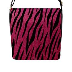 Skin3 Black Marble & Pink Denim Flap Messenger Bag (l)  by trendistuff