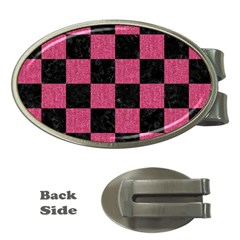 Square1 Black Marble & Pink Denim Money Clips (oval)  by trendistuff