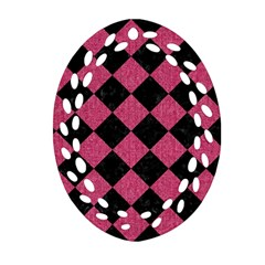 Square2 Black Marble & Pink Denim Oval Filigree Ornament (two Sides) by trendistuff