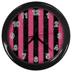Stripes1 Black Marble & Pink Denim Wall Clocks (black) by trendistuff