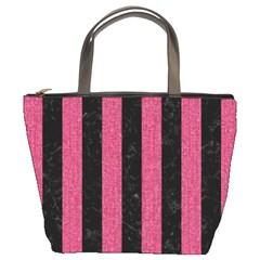 Stripes1 Black Marble & Pink Denim Bucket Bags by trendistuff