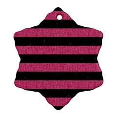 Stripes2 Black Marble & Pink Denim Ornament (snowflake)