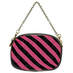 Stripes3 Black Marble & Pink Denim Chain Purses (one Side)  by trendistuff
