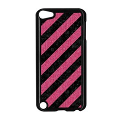 Stripes3 Black Marble & Pink Denim (r) Apple Ipod Touch 5 Case (black) by trendistuff