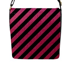 Stripes3 Black Marble & Pink Denim (r) Flap Messenger Bag (l)  by trendistuff