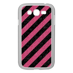 Stripes3 Black Marble & Pink Denim (r) Samsung Galaxy Grand Duos I9082 Case (white) by trendistuff