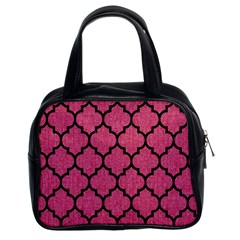 Tile1 Black Marble & Pink Denim Classic Handbags (2 Sides) by trendistuff
