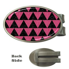 Triangle2 Black Marble & Pink Denim Money Clips (oval)  by trendistuff