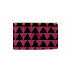 Triangle2 Black Marble & Pink Denim Cosmetic Bag (xs) by trendistuff