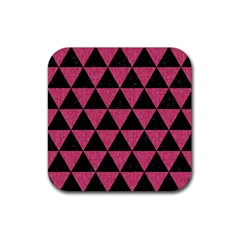 Triangle3 Black Marble & Pink Denim Rubber Square Coaster (4 Pack)  by trendistuff