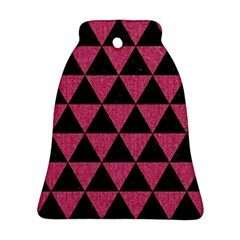 Triangle3 Black Marble & Pink Denim Bell Ornament (two Sides) by trendistuff