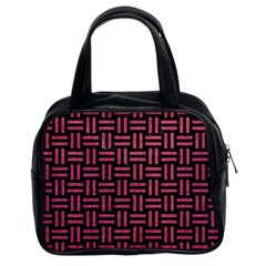 Woven1 Black Marble & Pink Denim (r) Classic Handbags (2 Sides) by trendistuff