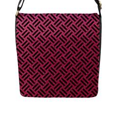 Woven2 Black Marble & Pink Denim Flap Messenger Bag (l)  by trendistuff