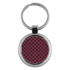 Woven2 Black Marble & Pink Denim (r) Key Chains (round)  by trendistuff