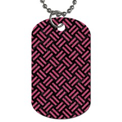 Woven2 Black Marble & Pink Denim (r) Dog Tag (one Side) by trendistuff