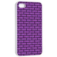 Brick1 Black Marble & Purple Denim Apple Iphone 4/4s Seamless Case (white) by trendistuff
