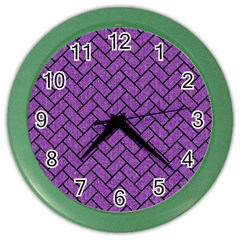 Brick2 Black Marble & Purple Denim Color Wall Clocks by trendistuff