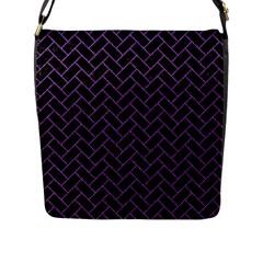 Brick2 Black Marble & Purple Denim (r) Flap Messenger Bag (l)  by trendistuff