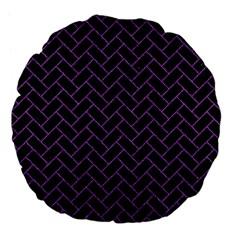 Brick2 Black Marble & Purple Denim (r) Large 18  Premium Flano Round Cushions by trendistuff