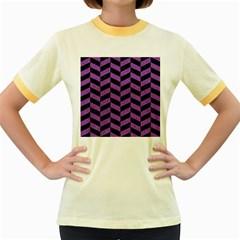 Chevron1 Black Marble & Purple Denim Women s Fitted Ringer T Shirts by trendistuff