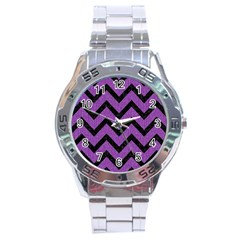 Chevron9 Black Marble & Purple Denim Stainless Steel Analogue Watch by trendistuff