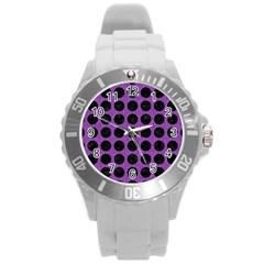 Circles1 Black Marble & Purple Denim Round Plastic Sport Watch (l) by trendistuff
