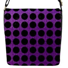 Circles1 Black Marble & Purple Denim Flap Messenger Bag (s) by trendistuff