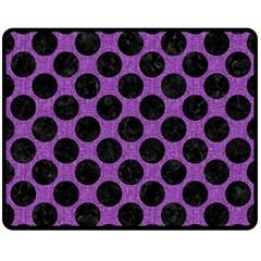 Circles2 Black Marble & Purple Denim Double Sided Fleece Blanket (medium)  by trendistuff