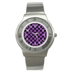 Circles2 Black Marble & Purple Denim (r) Stainless Steel Watch by trendistuff
