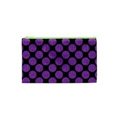 Circles2 Black Marble & Purple Denim (r) Cosmetic Bag (xs) by trendistuff