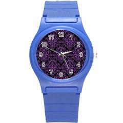 Damask1 Black Marble & Purple Denim (r) Round Plastic Sport Watch (s) by trendistuff