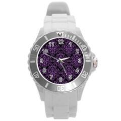 Damask1 Black Marble & Purple Denim (r) Round Plastic Sport Watch (l) by trendistuff