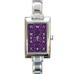 Damask2 Black Marble & Purple Denim Rectangle Italian Charm Watch by trendistuff
