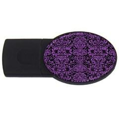Damask2 Black Marble & Purple Denim (r) Usb Flash Drive Oval (4 Gb) by trendistuff