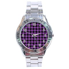 Houndstooth1 Black Marble & Purple Denim Stainless Steel Analogue Watch by trendistuff
