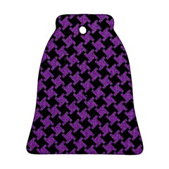 Houndstooth2 Black Marble & Purple Denim Bell Ornament (two Sides) by trendistuff