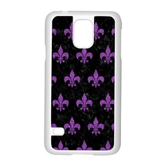 Royal1 Black Marble & Purple Denim Samsung Galaxy S5 Case (white) by trendistuff