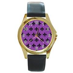 Royal1 Black Marble & Purple Denim (r) Round Gold Metal Watch by trendistuff