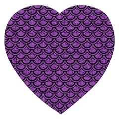Scales2 Black Marble & Purple Denim Jigsaw Puzzle (heart) by trendistuff