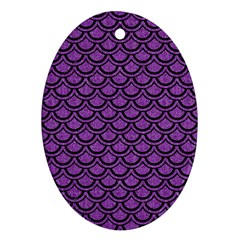 Scales2 Black Marble & Purple Denim Oval Ornament (two Sides) by trendistuff