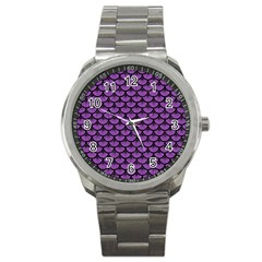 Scales3 Black Marble & Purple Denim Sport Metal Watch by trendistuff